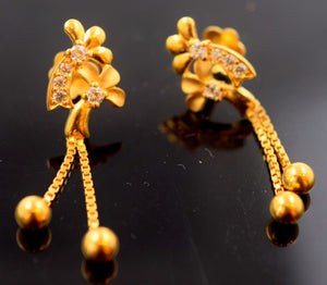 22k 22ct Solid Gold ELEGANT LONG TRADITIONAL EARRING  e1273 - Royal Dubai Jewellers