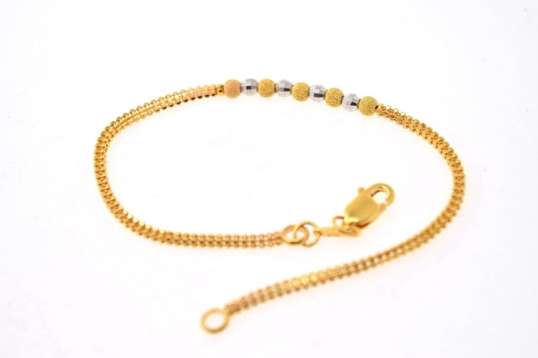22k 22ct Solid Gold ELEGANT BALL RHODIUM WOMEN BRACELET LENGHT 7.0in B594 - Royal Dubai Jewellers