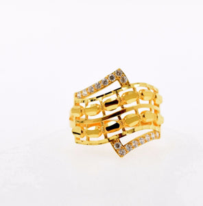 "22k 22ct Solid Gold ELEGANT STONE LADIES BAND Ring SIZE 7.2 ""RESIZABLE"" R643 - Royal Dubai Jewellers"