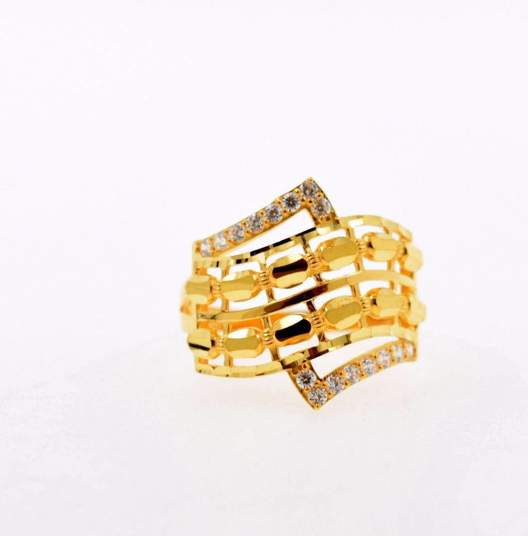 22k 22ct Solid Gold ELEGANT STONE LADIES BAND Ring SIZE 7.2