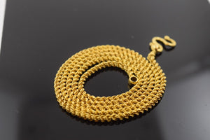 22k Yellow Solid Gold Chain Rope Necklace 2.6mm c163 with white diamond cut box - Royal Dubai Jewellers