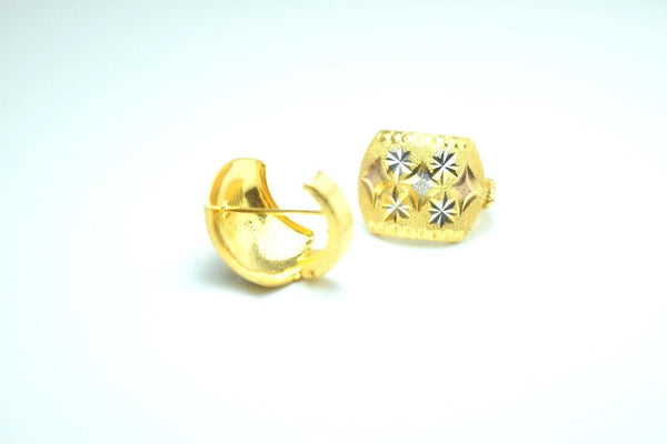 22k 22ct Solid Gold ELEGANT HOOP CLIP ON Earrings Stud with FREE BOX E141 - Royal Dubai Jewellers