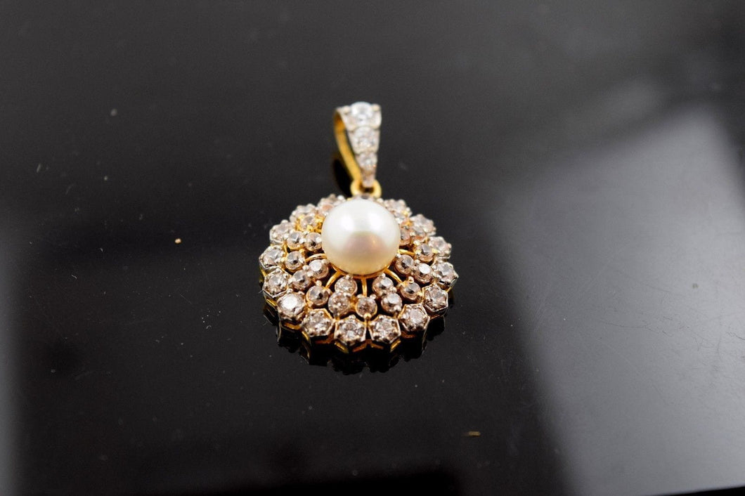 22k 22ct Solid Yellow Gold Unique Elegant Pearl Pendant p365  with unique box - Royal Dubai Jewellers