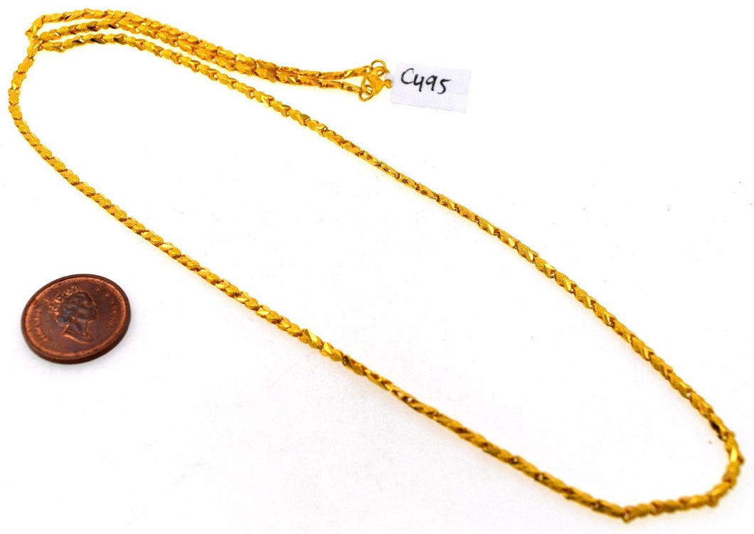 22k Yellow Solid GOLD EXQUISITE HEART SHAPE LINK Chain Necklace LENGHT 22