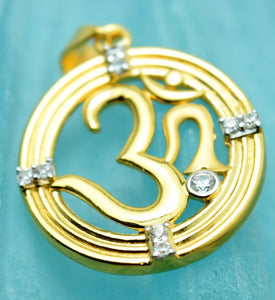 22k 22ct Solid Gold Round Hindu Religious OM AUM OHM pendant charm P10 - Royal Dubai Jewellers