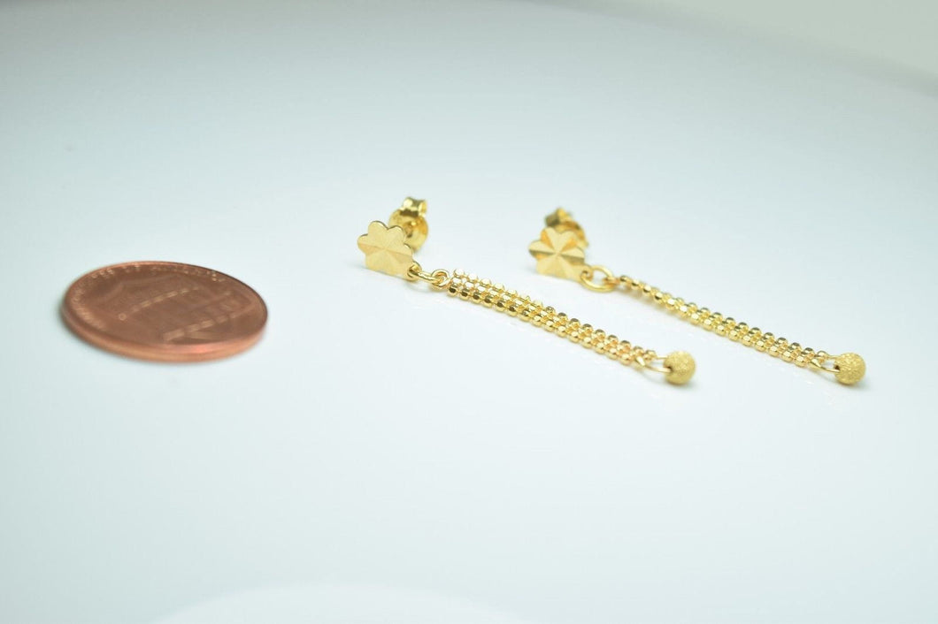 22k 22ct Solid Gold LONG CHAIN Earrings TOPS STUD with FREE BOX E109 - Royal Dubai Jewellers