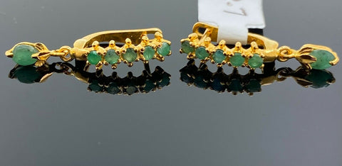 22k Earring Solid Gold Ladies Simple Clip On With Emerald Stone Design E5919 - Royal Dubai Jewellers