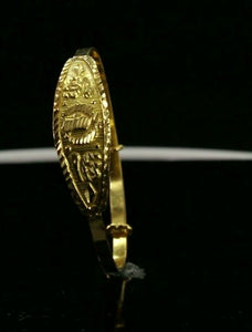 22k Bangle Solid Gold Simple Children Religious Sikh Diamond Cut Bangle CB1308