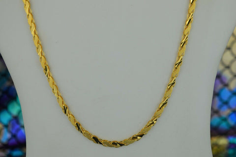 22k Chain Solid Gold Simple Long Glossy Anchor Link Design C3559m - Royal Dubai Jewellers
