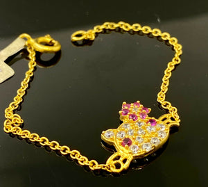 22k Bracelet Solid Gold Children Jewelry Simple Cat Design B9923