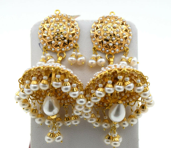 22k Earrings Solid Gold Ladies Jewelry Large Pearl Jhumki Design E7305