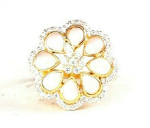 "22k Ring Solid Gold ELEGANT Charm Ladies Pearl Ring SIZE 8 ""RESIZABLE"" r2532"