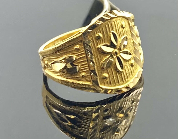 22k Ring Solid Gold Children Jewelry Simple Geometric Floral Design R1815