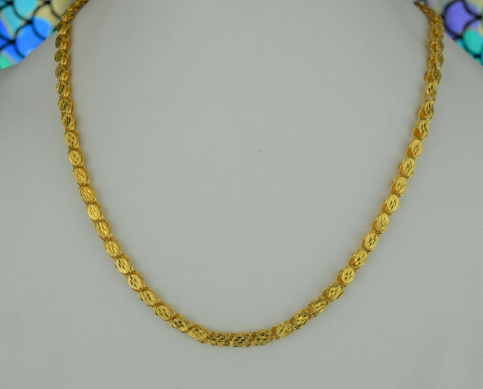 22k Chain Solid Gold Simple Elegant Long Floral Oval Link Design C07 - Royal Dubai Jewellers