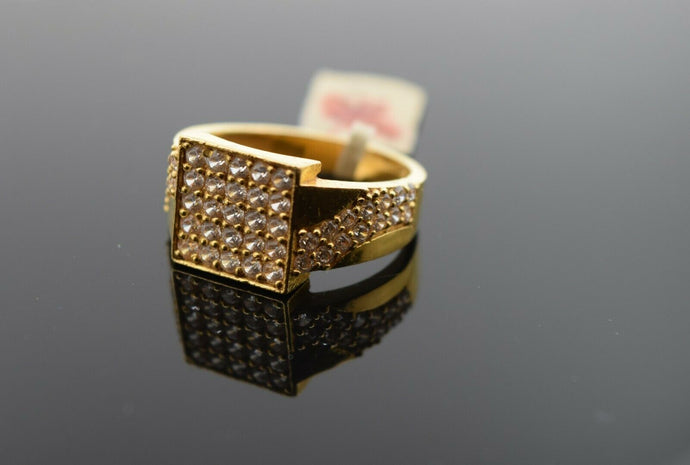 22k Ring Solid Gold Ring Men Jewelry Modern Stone Encrusted sigma Design R2998 - Royal Dubai Jewellers