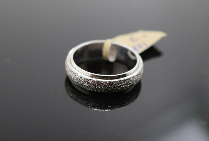 18k Ring Solid Gold Ring Simple White Gold Plain Sandblasted Band R1842