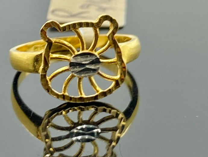 22k Ring Solid Gold Children Jewelry Simple Geometric Heart Design R2122z - Royal Dubai Jewellers