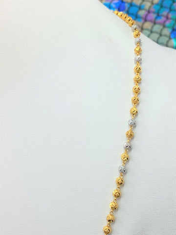 22k Chain Solid Gold Ladies Elegant Two Tone Infinity Beads Design C060 - Royal Dubai Jewellers
