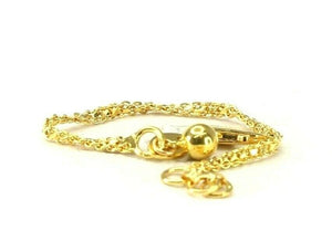 22k Bracelet Solid Gold Simple Dazzling Rolo Link Design With Charm B4198