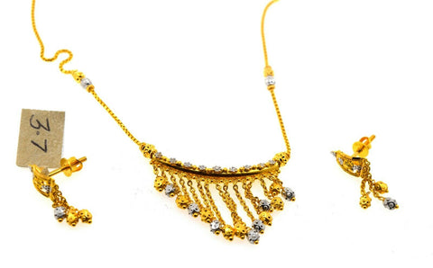 22k Necklace Set Beautiful Solid Gold Ladies TwoTone V Shape Dangle Design CS232