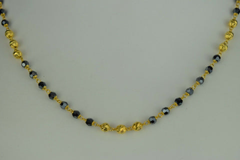 22k Mangalsutra Solid Gold Traditional Ladies Two Tone Necklace Design C3690