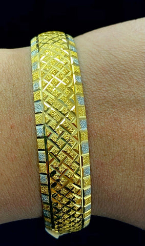 22k Bangle Solid Gold Modern Ladies Two Tone Geometric Design B366