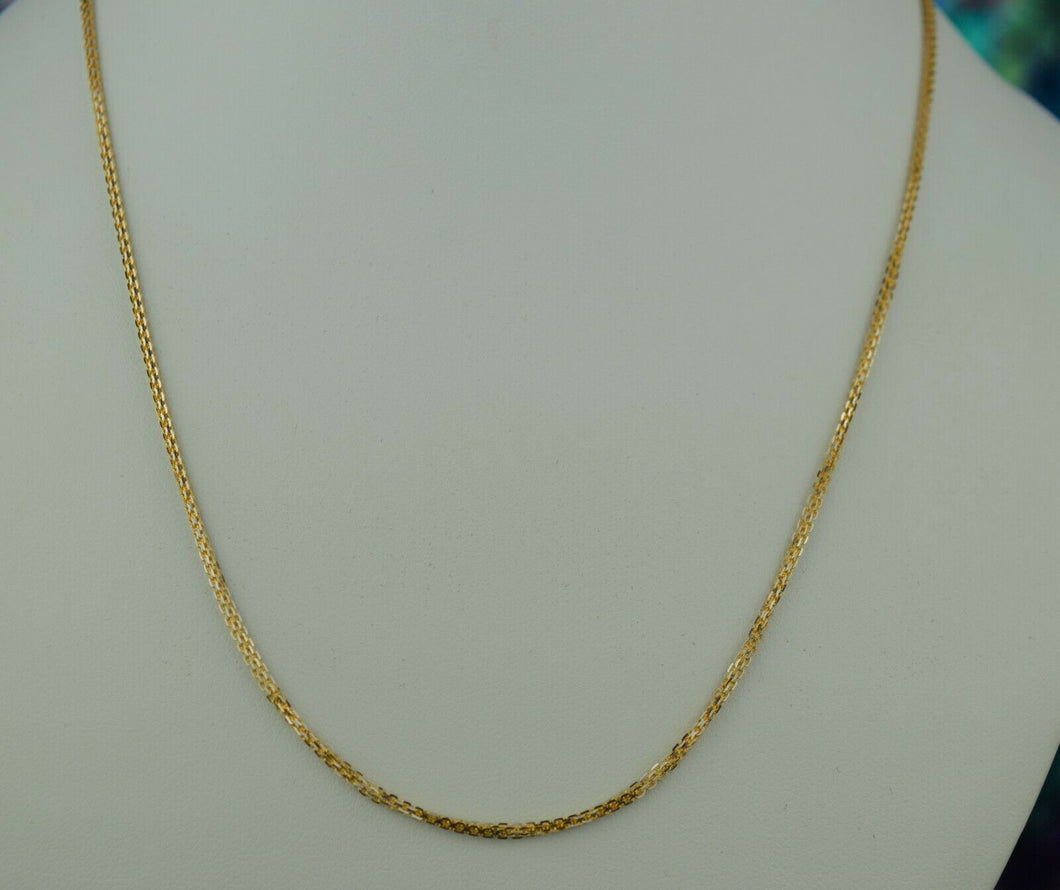 22k Chain Solid Gold Ladies Jewelry Simple Cable Link Design C3525m