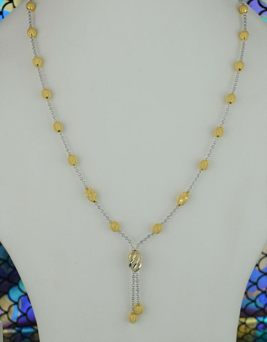 22k Chain Solid Gold Ladies Necklace Elegant Snake And Beads Design C011 - Royal Dubai Jewellers