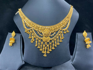 22k Necklace Set Beautiful Solid Gold Ladies Traditional Filigree Design LS994