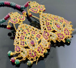 22k Necklace Set Solid Gold Ladies Jewelry Mixed Stone Jadau Design CS272 - Royal Dubai Jewellers
