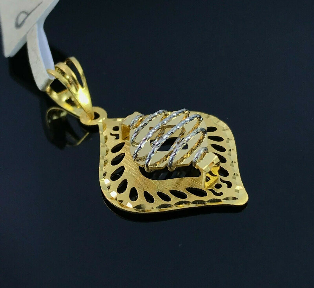 22k Pendant Solid Gold Ladies Elegant Filigree Floral Shape Design P3051