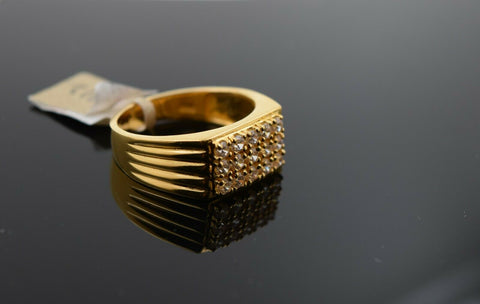 22k Ring Solid Gold Ring Men Jewelry Modern Stone Encrusted sigma Design R1912 - Royal Dubai Jewellers