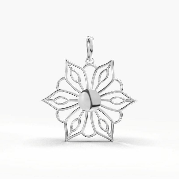 18k White Gold Ladies Jewelry Elegant Floral Pendant CGP36W