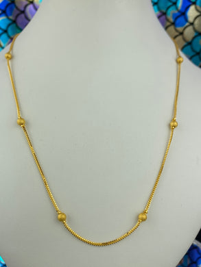 22k Chain Solid Gold Ladies Jewelry Simple Snake And Bead Design C0212 - Royal Dubai Jewellers