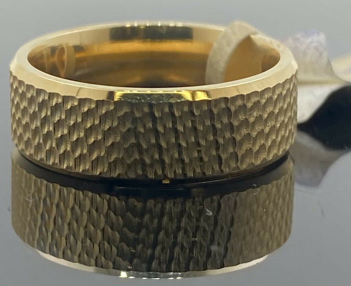 18k Ring Solid Gold Men Jewelry Modern Rough Finished Design R2368