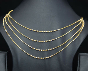 22k Necklace Set Beautiful Solid Gold Ladies Simple Two Tone Design LS1038