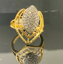 22k Ring Solid Gold Ladies Jewelry Elegant Two Tone With Stones Design R2258