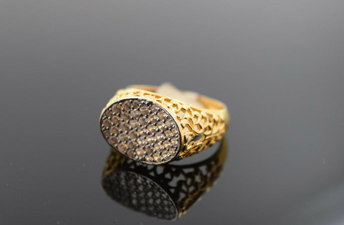 22k Ring Solid Gold Ring Men Jewelry Modern Oval Shape Stone Encrusted R3137 - Royal Dubai Jewellers