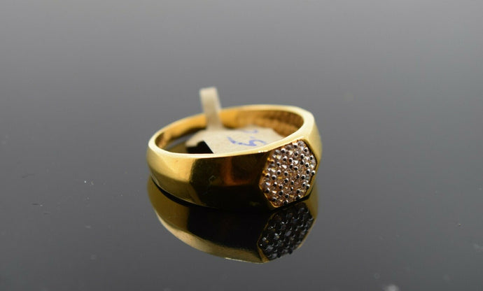 22k Ring Solid Gold Ring Men Hexagon Sigma Design With Stone Encrusted R3132 - Royal Dubai Jewellers