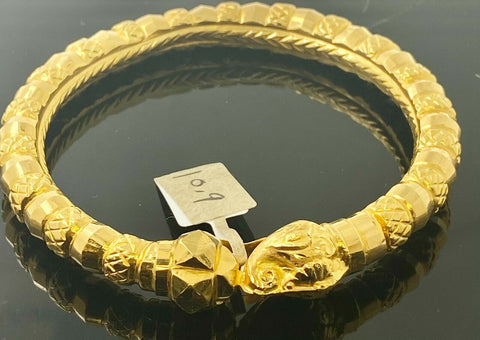 22k Bangle Solid Gold Traditional Ladies Elephant Design B325