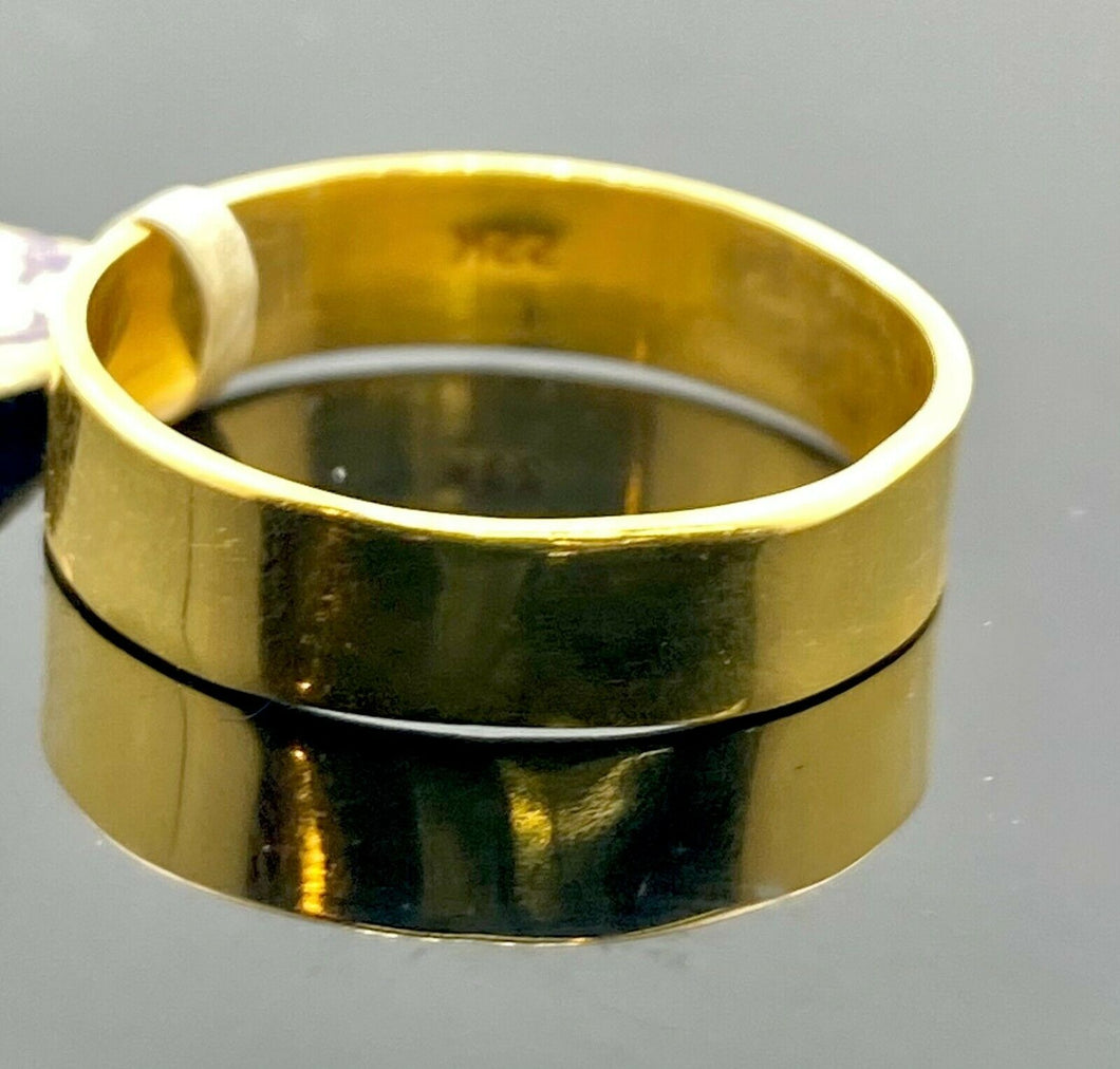 22k Ring Solid Gold Men Simple High Polished Glossy Design R2330z