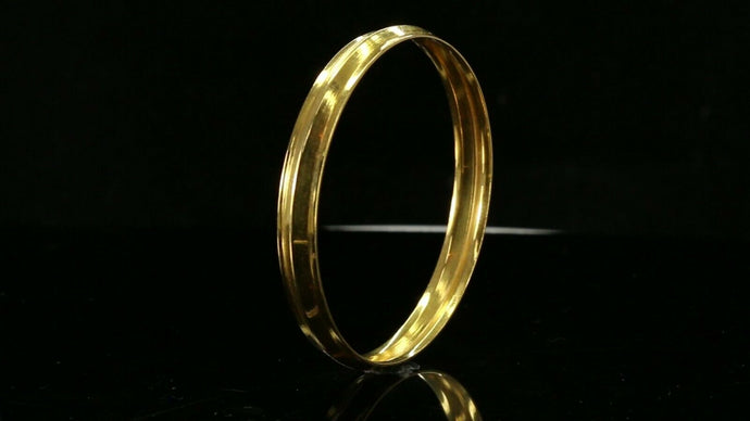 22k Bangle Solid Gold Simple Mens Plain High Polished Kara Bangle cb1293