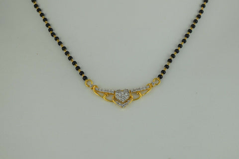 22k Mangalsutra Solid Gold Traditional Ladies Necklace with Floral Pendant C082
