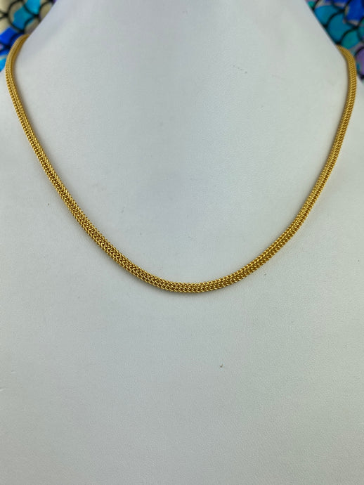 21k 22k Solid Gold Chain Ladies Jewelry Simple Foxtail Design C0377 - Royal Dubai Jewellers