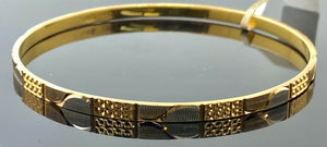 22k Bangle Solid Gold Simple Ladies Two Tone Geometric Design B417