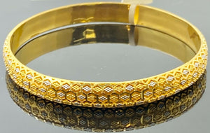 22k Bangle Solid Gold Simple Ladies Two Tone Polygon Shape Design B407