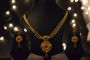 22k Necklace Set Beautiful Solid Gold Ladies Navratan With Enamel LS108