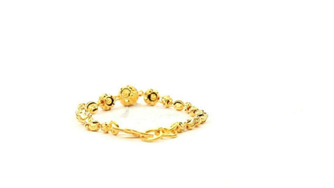 22k Bracelet Solid Gold Simple Charm Infinity Ball and Bead Design cb1247