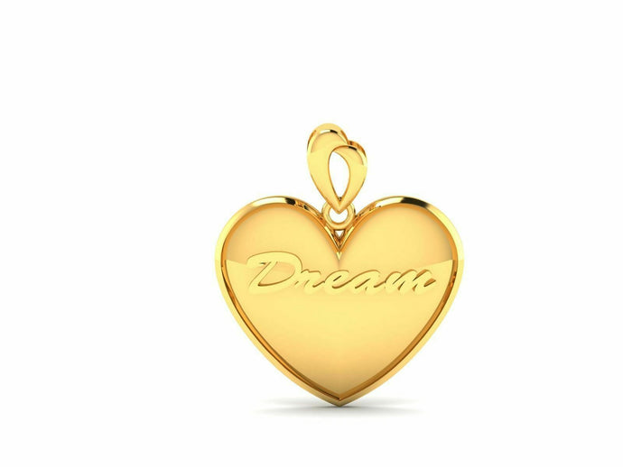 22k Pendant Solid Yellow Gold Ladies Jewelry Elegant Heart Dream Design CGP2