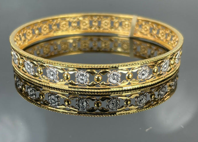 22k Bangle Solid Gold Elegant Ladies Classic TwoTone Filigree Floral Design B391